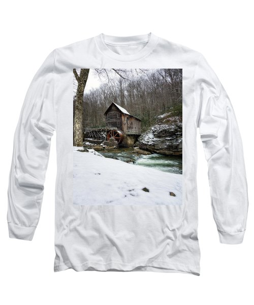 Snowing At Glade Creek Mill Long Sleeve T-Shirt by Steve Hurt