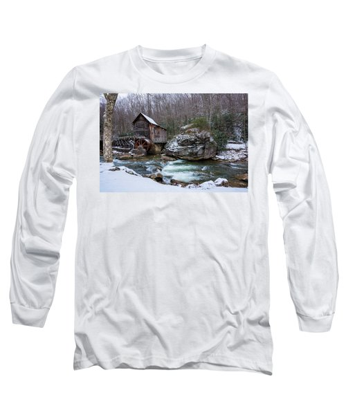 Snowing At The Mill  Long Sleeve T-Shirt by Steve Hurt