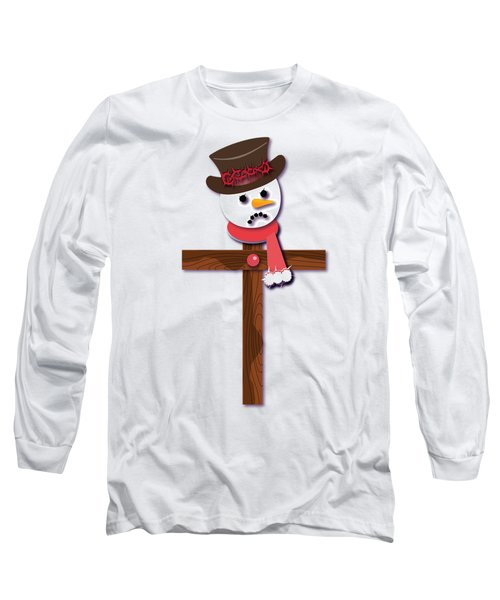 Snowman Christian Cross Long Sleeve T-Shirt by Reggie Hart
