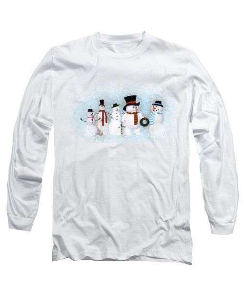 Long Sleeve T-Shirt featuring the painting Snowmen by Methune Hively