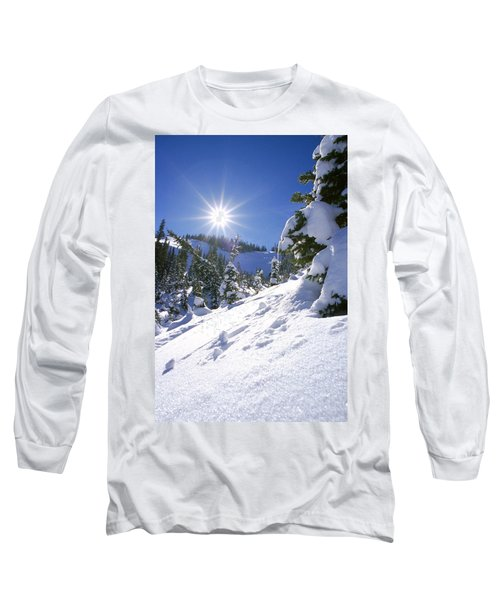 Snowscape With Bright Sun Long Sleeve T-Shirt