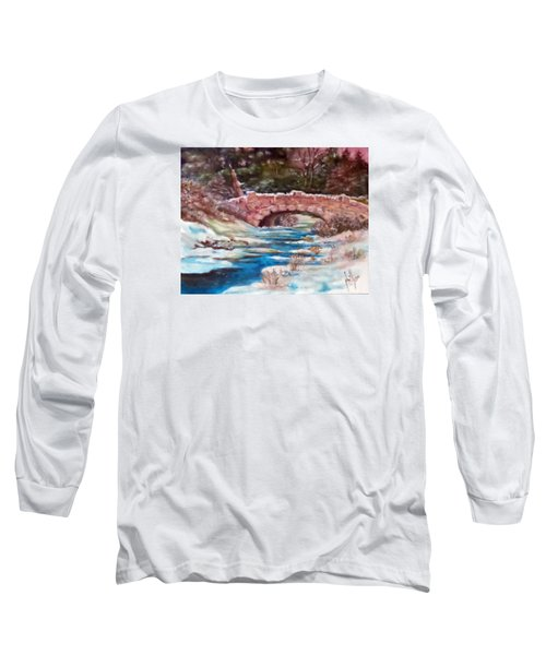 Long Sleeve T-Shirt featuring the painting Snowy Creek by Jim Phillips