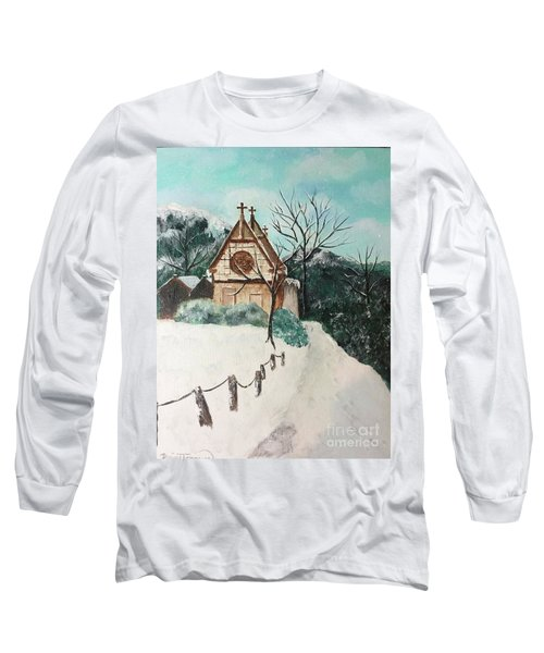 Long Sleeve T-Shirt featuring the painting Snowy Daze by Denise Tomasura
