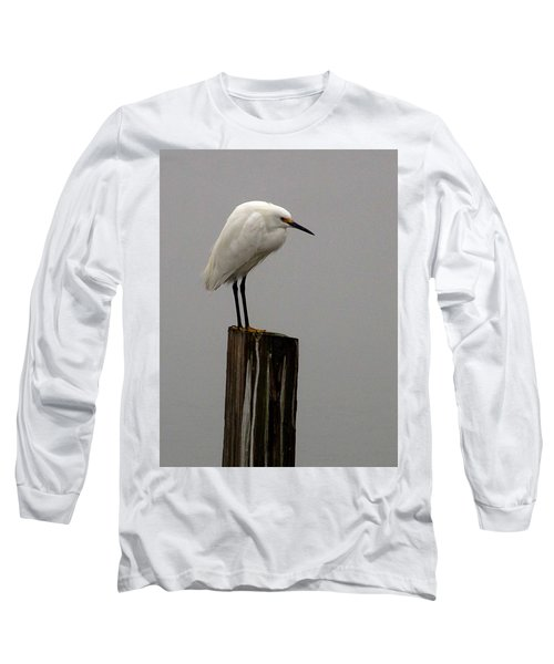 Snowy Egret In The Fog  Long Sleeve T-Shirt