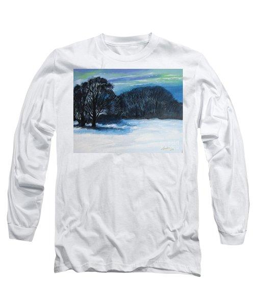 Snowy Moonlight Night Long Sleeve T-Shirt