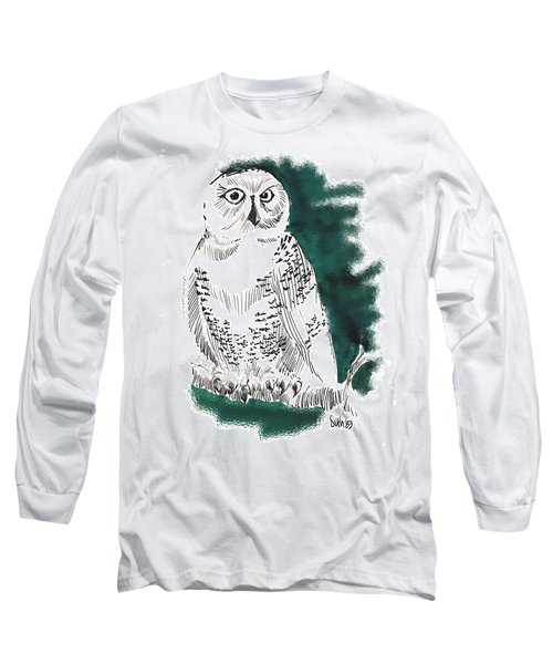 Long Sleeve T-Shirt featuring the drawing Snowy Owl II by Seth Weaver