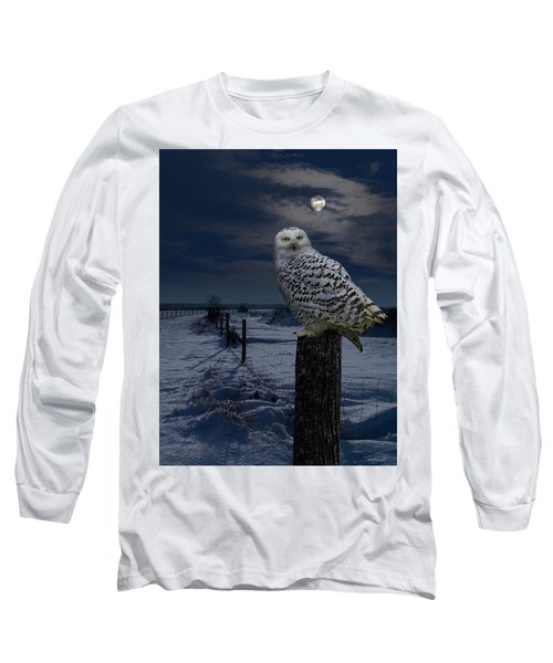 Snowy Owl On A Winter Night Long Sleeve T-Shirt