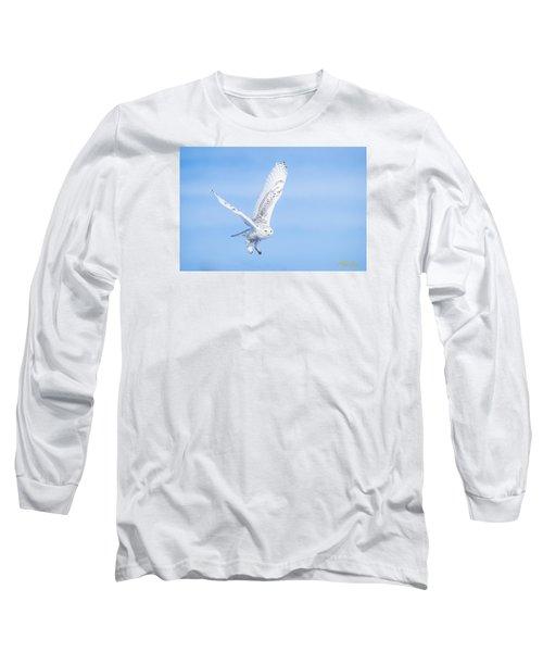 Snowy Owls Soaring Long Sleeve T-Shirt by Rikk Flohr