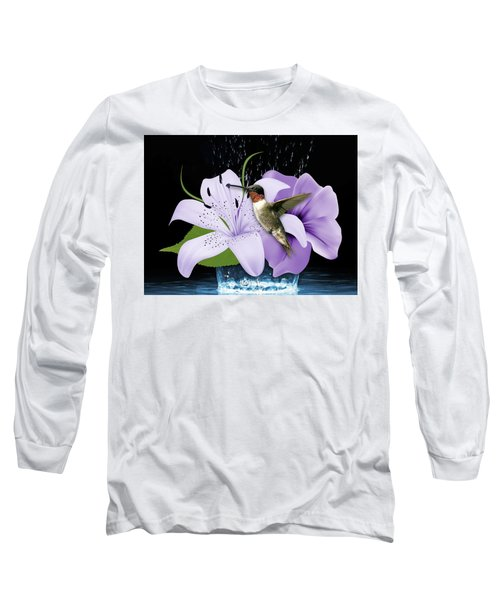 Long Sleeve T-Shirt featuring the mixed media Soaring Hummingbird by Marvin Blaine