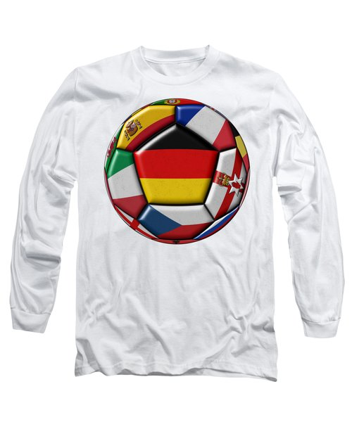 Soccer Ball With Flag Of German In The Center Long Sleeve T-Shirt by Michal Boubin