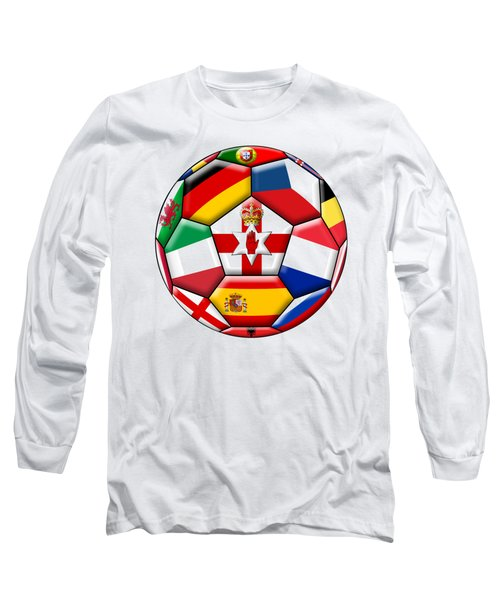 Soccer Ball With Flags - Flag Of  Northern Ireland In The Center Long Sleeve T-Shirt