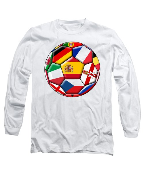 Soccer Ball With Flags - Flag Of Spain In The Center Long Sleeve T-Shirt