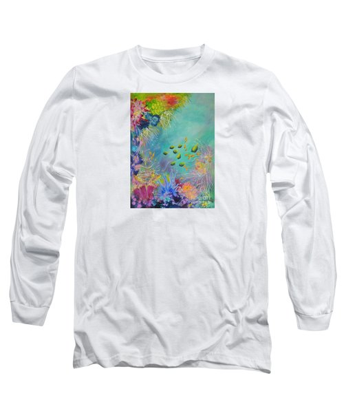 Long Sleeve T-Shirt featuring the painting Soft And Hard Reef Corals by Lyn Olsen