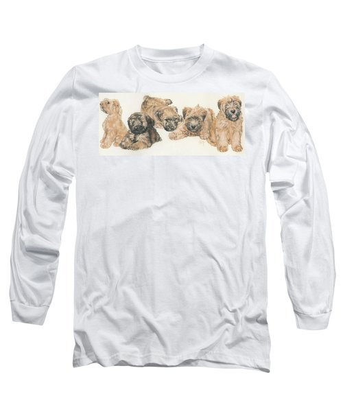 Soft-coated Wheaten Terrier Puppies Long Sleeve T-Shirt by Barbara Keith
