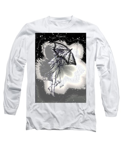 Long Sleeve T-Shirt featuring the drawing Some Days It Just Pays To Stay In Bed by Desline Vitto
