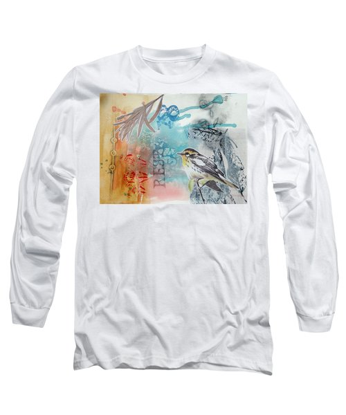 Long Sleeve T-Shirt featuring the mixed media Song Of Life  by Rose Legge