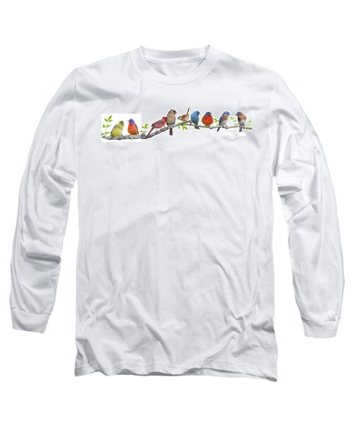 Songbirds On A Leafy Branch Long Sleeve T-Shirt by Bonnie Barry