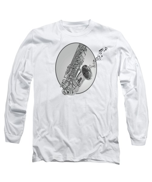 Sounds Of The Sax In Black And White Long Sleeve T-Shirt by Gill Billington