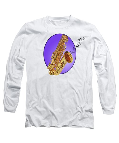 Sounds Of The Sax In Purple Long Sleeve T-Shirt