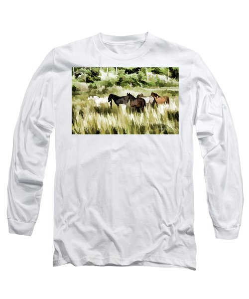 Long Sleeve T-Shirt featuring the mixed media South Dakota Herd Of Horses by Wilma Birdwell
