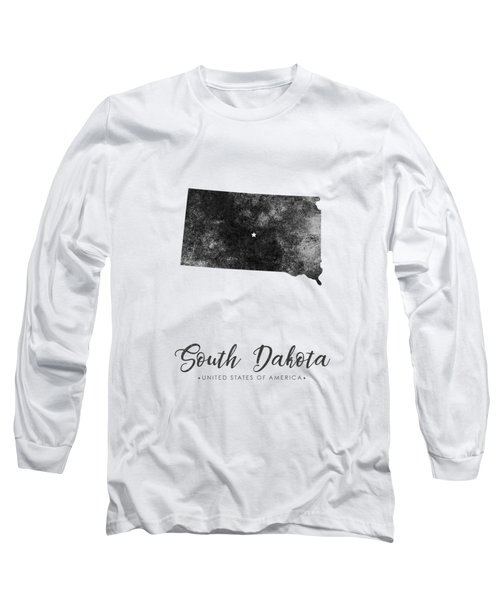 South Dakota State Map Art - Grunge Silhouette Long Sleeve T-Shirt
