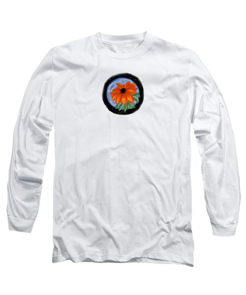 Space Zinnia Long Sleeve T-Shirt by Jean Pacheco Ravinski