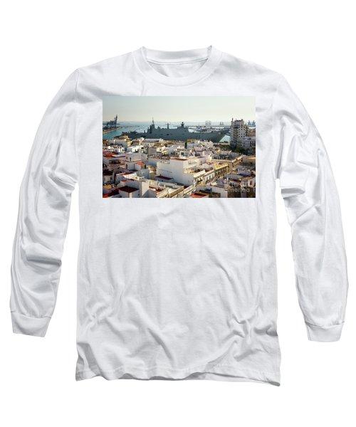 Long Sleeve T-Shirt featuring the photograph Spanish Navy Ship Juan Carlos I Cadiz Spain by Pablo Avanzini