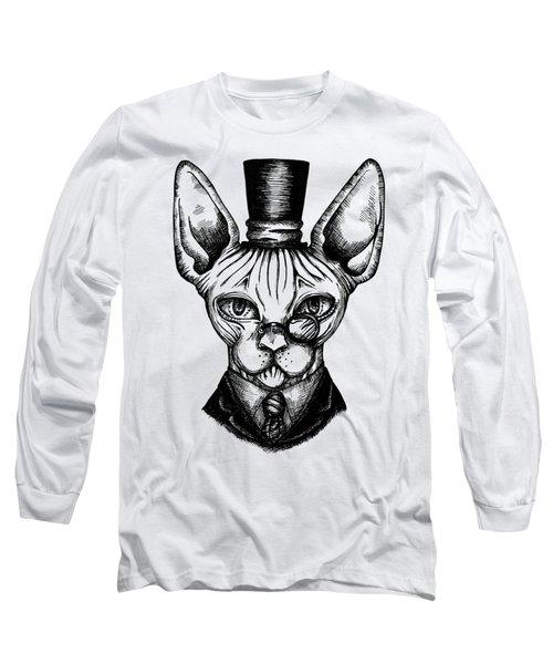 Sphynx Gentleman Long Sleeve T-Shirt by Akiko Okabe