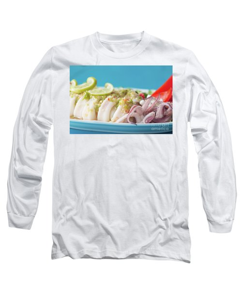 Long Sleeve T-Shirt featuring the photograph Spicy Food, Steamed Squid by Atiketta Sangasaeng
