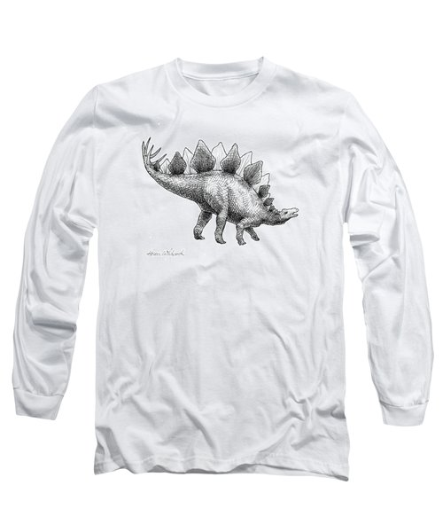 Stegosaurus - Dinosaur Decor - Black And White Dino Drawing Long Sleeve T-Shirt