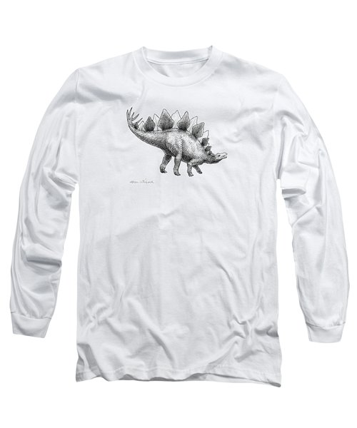 Stegosaurus - Dinosaur Decor - Black And White Dino Drawing Long Sleeve T-Shirt