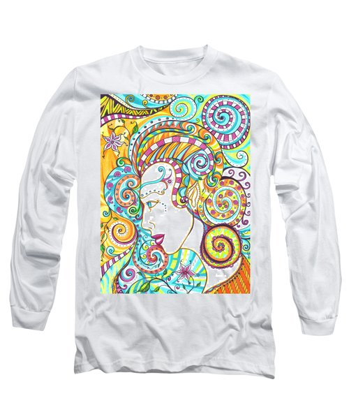 Long Sleeve T-Shirt featuring the drawing Spiraled Out Of Control by Shawna Rowe