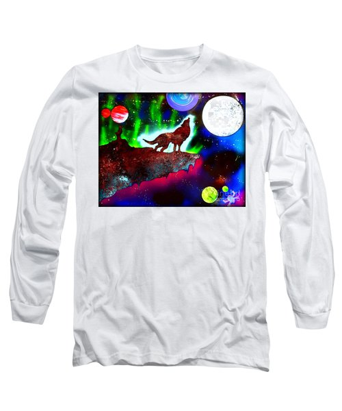 Spirit Of The Wolf Vibrant Long Sleeve T-Shirt by Justin Moore