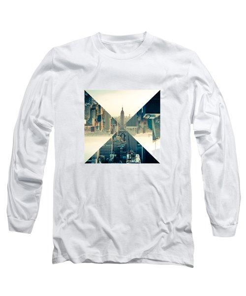 Split Skyline Ny Long Sleeve T-Shirt by Jamie Kingswood