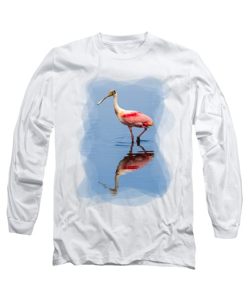 Spoonbill 3 Long Sleeve T-Shirt by John M Bailey