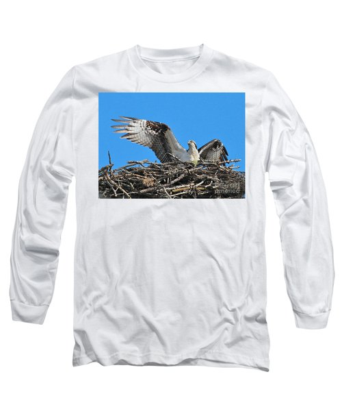 Long Sleeve T-Shirt featuring the photograph Spread-winged Osprey  by Debbie Stahre