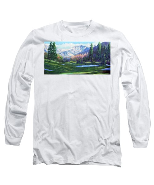 Long Sleeve T-Shirt featuring the painting Spring Colors In The Rockies by Billie Colson