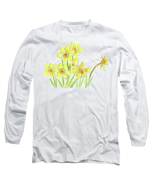 Long Sleeve T-Shirt featuring the painting Spring Daffodils by Cathie Richardson
