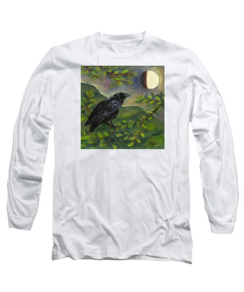 Spring Moon Raven Long Sleeve T-Shirt by FT McKinstry