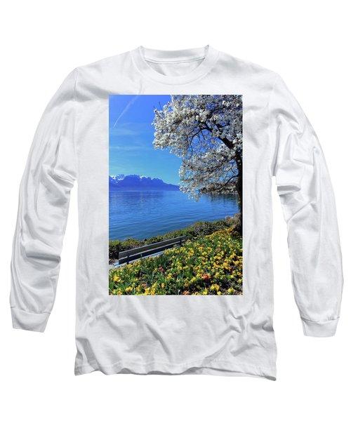 Springtime At Geneva Or Leman Lake, Montreux, Switzerland Long Sleeve T-Shirt by Elenarts - Elena Duvernay photo