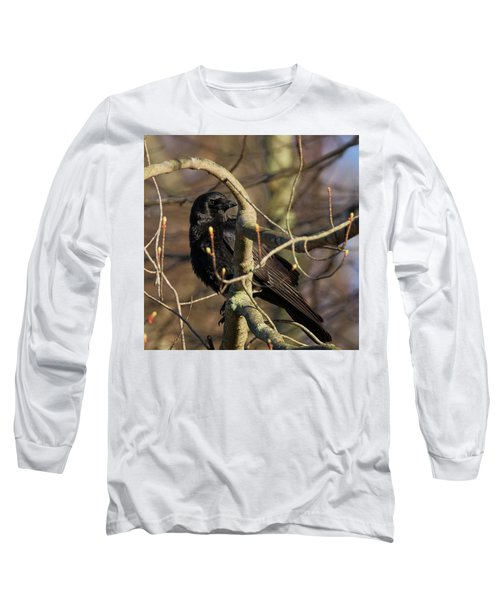 Long Sleeve T-Shirt featuring the photograph Springtime Crow Square by Bill Wakeley