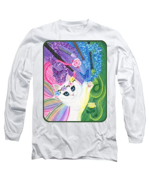 Long Sleeve T-Shirt featuring the painting Springtime Magic - White Fairy Cat by Carrie Hawks