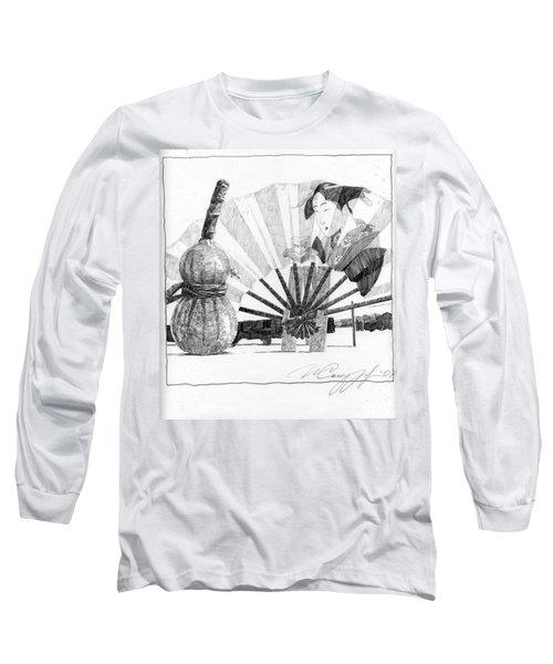 Spirit Of Japan. Pumpkin Jar And Fan Long Sleeve T-Shirt