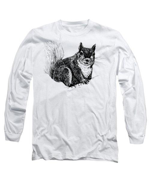 Squirrel Drawing Long Sleeve T-Shirt by Katerina Kirilova