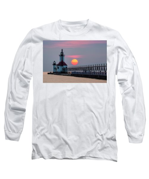 Long Sleeve T-Shirt featuring the photograph St. Joseph Lighthouse At Sunset by Adam Romanowicz