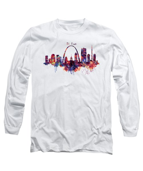 St Louis Skyline Long Sleeve T-Shirt by Marian Voicu