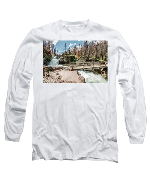 St. Mary Falls With Bridge Long Sleeve T-Shirt