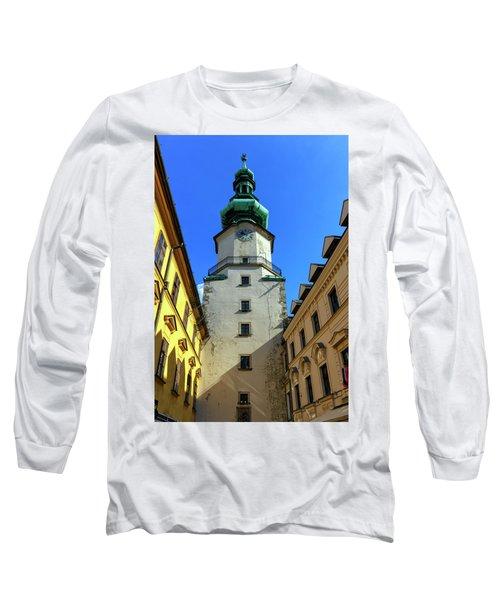 St Michael's Tower In The Old City, Bratislava, Slovakia, Europe Long Sleeve T-Shirt by Elenarts - Elena Duvernay photo