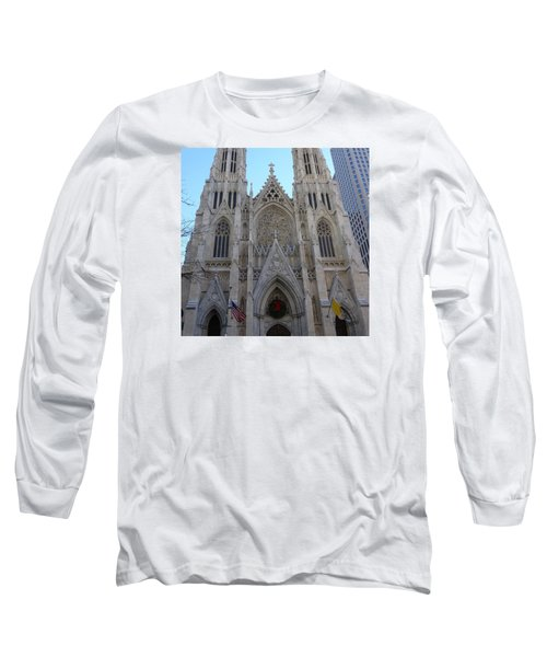 Long Sleeve T-Shirt featuring the photograph St Patrick's Cathedral, Nyc by Melinda Saminski