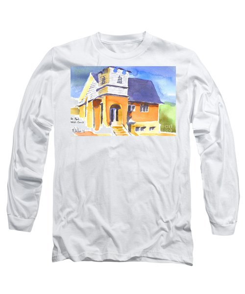 Long Sleeve T-Shirt featuring the painting St Paul Lutheran 3 by Kip DeVore